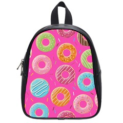 Doughnut Bread Donuts Pink School Bags (small)  by Mariart