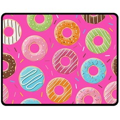Doughnut Bread Donuts Pink Fleece Blanket (medium)  by Mariart