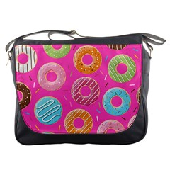 Doughnut Bread Donuts Pink Messenger Bags by Mariart