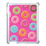 Doughnut Bread Donuts Pink Apple iPad 3/4 Case (White) Front