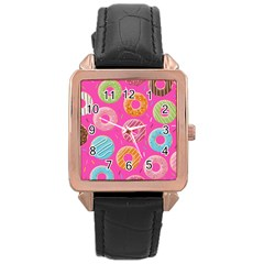 Doughnut Bread Donuts Pink Rose Gold Leather Watch  by Mariart