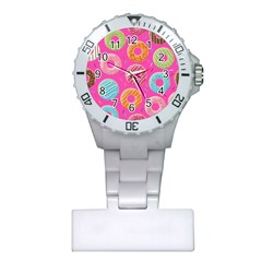 Doughnut Bread Donuts Pink Plastic Nurses Watch by Mariart