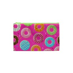 Doughnut Bread Donuts Pink Cosmetic Bag (xs) by Mariart