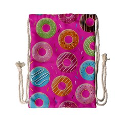 Doughnut Bread Donuts Pink Drawstring Bag (small) by Mariart
