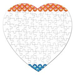 Fish Scales Dragon Circle Jigsaw Puzzle (heart) by Mariart