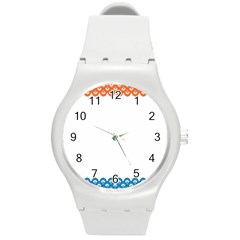 Fish Scales Dragon Circle Round Plastic Sport Watch (m)