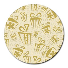 Gift Party Polka Grey Round Mousepads by Mariart