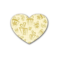 Gift Party Polka Grey Rubber Coaster (heart)