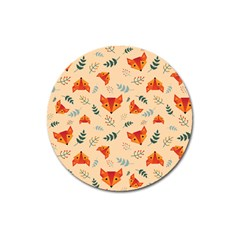Foxes Animals Face Orange Magnet 3  (round) by Mariart