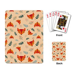 Foxes Animals Face Orange Playing Card by Mariart