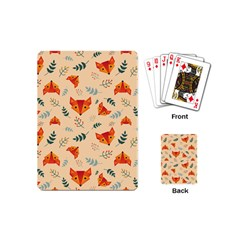 Foxes Animals Face Orange Playing Cards (mini)  by Mariart