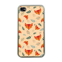 Foxes Animals Face Orange Apple Iphone 4 Case (clear) by Mariart