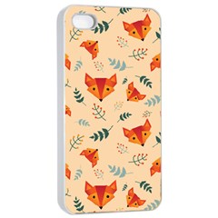 Foxes Animals Face Orange Apple Iphone 4/4s Seamless Case (white) by Mariart