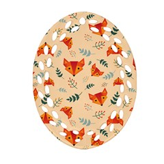 Foxes Animals Face Orange Ornament (oval Filigree) by Mariart