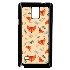Foxes Animals Face Orange Samsung Galaxy Note 4 Case (black) by Mariart