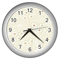 Flower Floral Leaf Wall Clocks (silver)  by Mariart