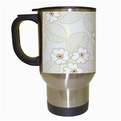 Flower Floral Leaf Travel Mugs (white) by Mariart