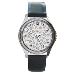 Glass Polka Circle Blue Round Metal Watch by Mariart