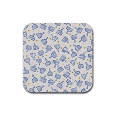 Glass Polka Circle Blue Rubber Square Coaster (4 Pack)  by Mariart