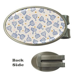 Glass Polka Circle Blue Money Clips (oval)  by Mariart