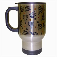 Glass Polka Circle Blue Travel Mug (silver Gray)
