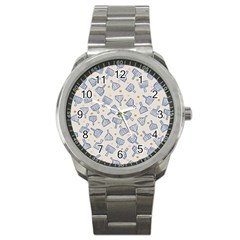 Glass Polka Circle Blue Sport Metal Watch by Mariart