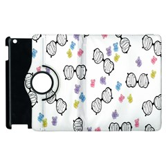 Glasses Bear Cute Doll Animals Apple Ipad 3/4 Flip 360 Case by Mariart