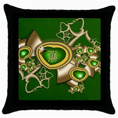 Green And Gold Hearts With Behrman B And Bee Throw Pillow Case (black) by WolfepawFractals
