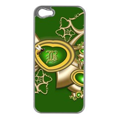 Green And Gold Hearts With Behrman B And Bee Apple Iphone 5 Case (silver) by WolfepawFractals