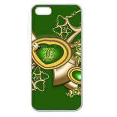 Green And Gold Hearts With Behrman B And Bee Apple Seamless Iphone 5 Case (clear) by WolfepawFractals