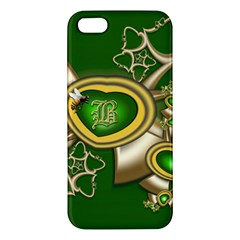 Green And Gold Hearts With Behrman B And Bee Apple Iphone 5 Premium Hardshell Case by WolfepawFractals
