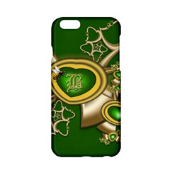 Green And Gold Hearts With Behrman B And Bee Apple Iphone 6/6s Hardshell Case by WolfepawFractals