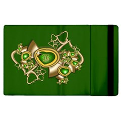 Green And Gold Hearts With Behrman B And Bee Apple Ipad Pro 9 7   Flip Case