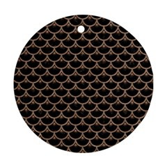 Scales3 Black Marble & Brown Colored Pencil Ornament (round) by trendistuff