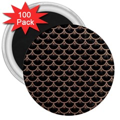 Scales3 Black Marble & Brown Colored Pencil 3  Magnet (100 Pack) by trendistuff
