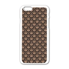 Scales2 Black Marble & Brown Colored Pencil (r) Apple Iphone 6/6s White Enamel Case by trendistuff