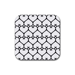 Heart Background Wire Frame Black Wireframe Rubber Coaster (square)