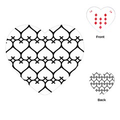 Heart Background Wire Frame Black Wireframe Playing Cards (heart)  by Mariart
