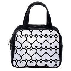 Heart Background Wire Frame Black Wireframe Classic Handbags (one Side) by Mariart