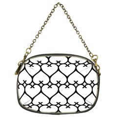 Heart Background Wire Frame Black Wireframe Chain Purses (one Side)