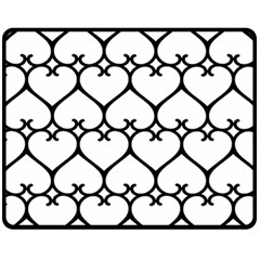 Heart Background Wire Frame Black Wireframe Fleece Blanket (medium)  by Mariart
