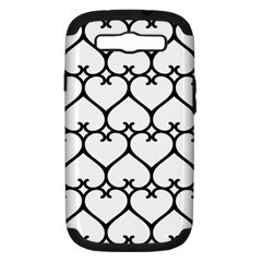 Heart Background Wire Frame Black Wireframe Samsung Galaxy S Iii Hardshell Case (pc+silicone) by Mariart