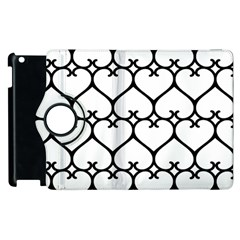 Heart Background Wire Frame Black Wireframe Apple Ipad 2 Flip 360 Case by Mariart