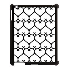 Heart Background Wire Frame Black Wireframe Apple Ipad 3/4 Case (black) by Mariart