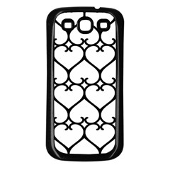 Heart Background Wire Frame Black Wireframe Samsung Galaxy S3 Back Case (black) by Mariart