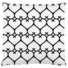Heart Background Wire Frame Black Wireframe Large Flano Cushion Case (one Side) by Mariart