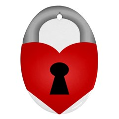 Heart Padlock Red Love Ornament (oval)