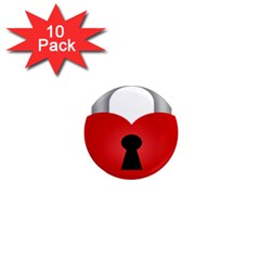 Heart Padlock Red Love 1  Mini Magnet (10 Pack)  by Mariart