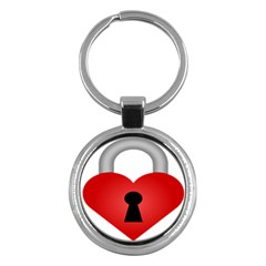 Heart Padlock Red Love Key Chains (round)  by Mariart