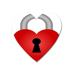 Heart Padlock Red Love Heart Magnet by Mariart
